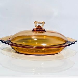 Amber Covered Serving Dish Plate Vintage